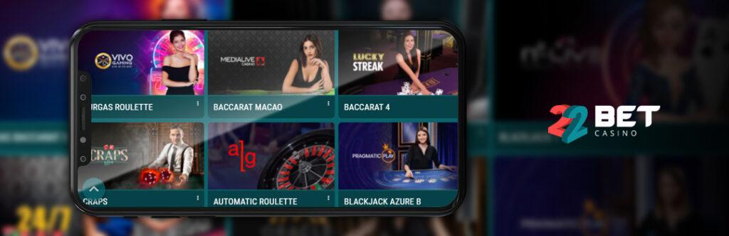 Die besten Live-Dealer-Spiele im 22bet Mobile Casino
