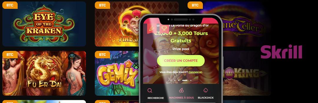 Énormes bonus du casino Skrill en Suisse